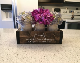 Personalized Christmas Gifts, Christmas Gift Ideas, Engraved Planter Box w/ 3 Mason Jars, Table Centerpiece, Mothers Day Gift, Gifts for Mom
