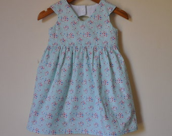 Girls Tea Party Dress in Baby Blue with matching headband