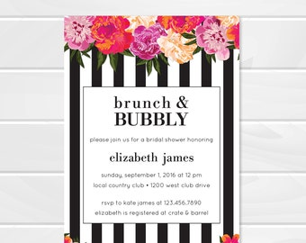 Brunch and Bubbly Floral Baby Shower Invitation, Black and White Stripes, Kate Spade