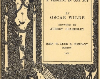 "Aubrey Beardsley's Title Page  from 1906 ""Salome"" by Oscar Wilde, Art Nouveau"