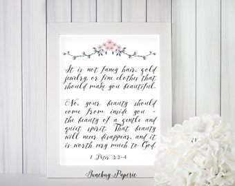 "Beauty comes from within ~ 1 Peter 3:3-4 ~ pink watercolor floral ~ calligraphy handwriting ~ Bible scripture verse ~ 8x10"" digital download"