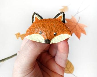 Fox Brooch, Paper Mache Fox Pin, Fox Badge, Animal Brooch, Fox Jewelry, Recycle Jewelry, Paper Jewelry, Paper Fox Pin, Fox Lover Gift