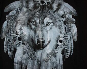 Wolf Dream Catcher T Shirt