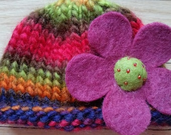 Newborn Knit Flower Hat
