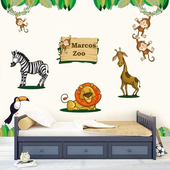 Zoo Animals Wall Decals | Lions | Giraffe | Monkeys | Kids Room Wall ...