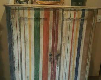 SOLD***************************************** Painted Stripes, Painted Armoire, Antique Armoire, Vintage Armoire, Striped Armoire