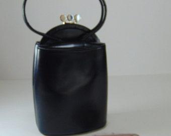 REDUCED - Vintage Navy Blue Leather Holzman Purse, Handbag 1960's