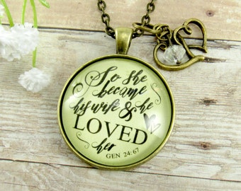 Gift to Bride From Groom He Loved Her Scripture Necklace Wedding Gift Anniversary Gift for Wife Engagement Present for Fiance Girlfriend