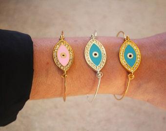 Bracelet jonc fin (0,8 MM) en argent 925  ou Plaqué or avec oeil grec porte bonheur turquoise ou rose