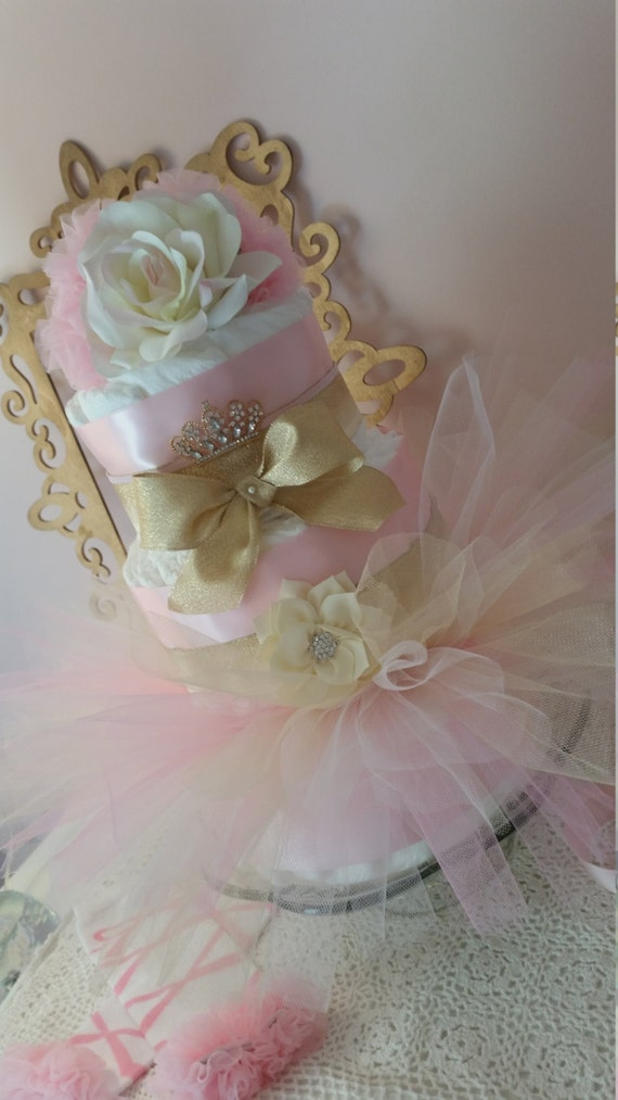 Items similar to pink and gold baby shower centerpiece