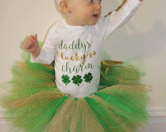 Green and glitter gold tutu, st Patrick's Day tutu, tutus for girls, green baby tutu, first birthday tutu,