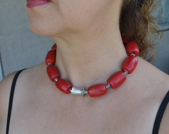 Coral Necklace, Red Coral Necklace, Large Beads Necklace, Sterling Silver Necklace, Tribal, Beaded, Ethnic Necklace, Red Necklace (656)