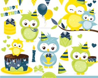Birthday owl clipart, Baby owl clipart, Owl clip art, Baby shower clipart, Owl graphics, Commercial use clipart - CA376