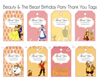 Belle Birthday Thank You Tags - Beauty and the Beast Thank You Tags - Belle Thank You Tags - Birthday Thank You Tags