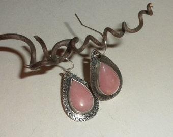 Pink Opal Earrings in Silver