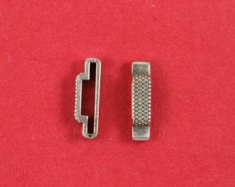 3/4 MADE in EUROPE 2 zamak sliders, 20mm cord sliders, flat leather cord slider, 20mm/10mm cod slider (F20/10GRT) Qty2