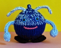Blue alien- Halloween gnome- knitted doll- original design- alien costume- Halloween birthday gift- office decor- funny gift- child's toy