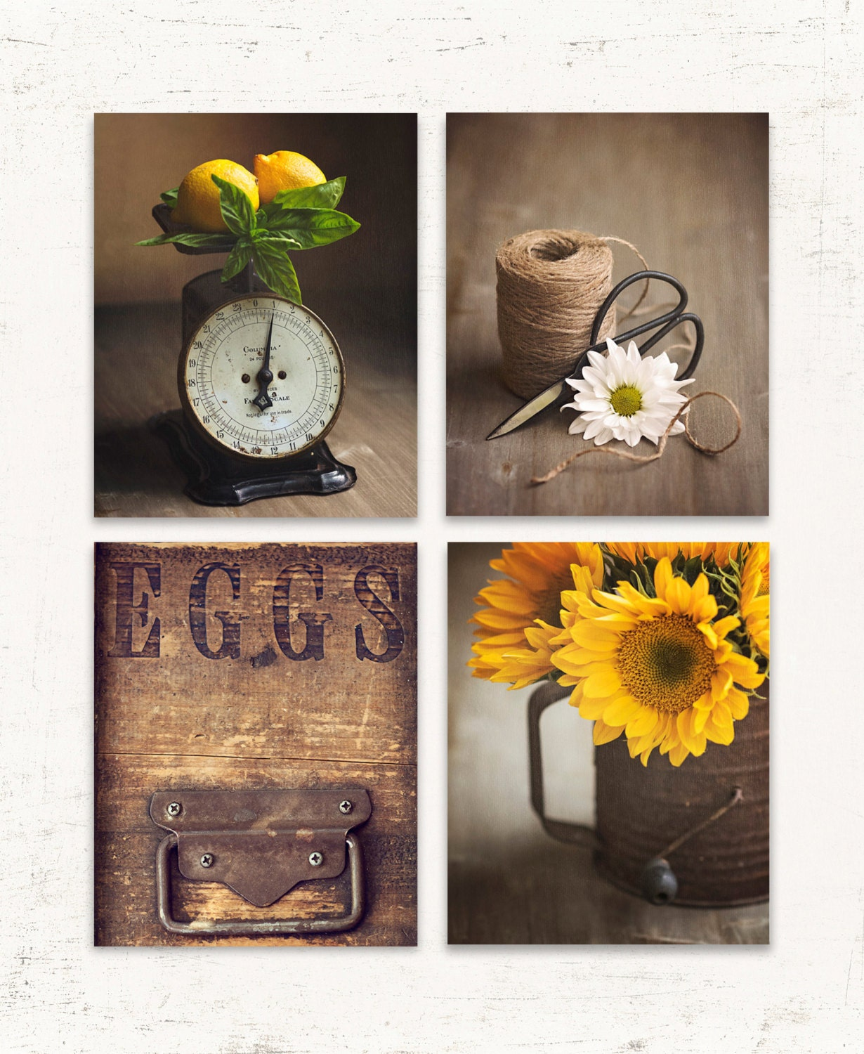 Rustic kitchen wall art set of four prints or canvases brown for Art prints for kitchen wall