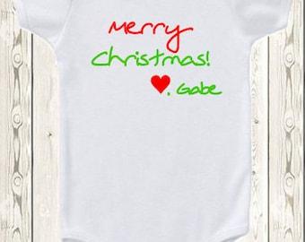 Personalized Christmas ONESIE ® brand bodysuit or shirt Merry Christmas Custom ONESIE ® brand bodysuit or shirt Baby's first Christmas gift