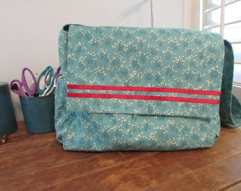 Teal Messanger/Diaper Bag - Made From Vintage Table Cloth