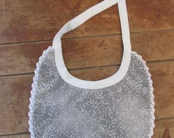 Reversible Baby Bib - Mint Swirl Flannel/Gray Print
