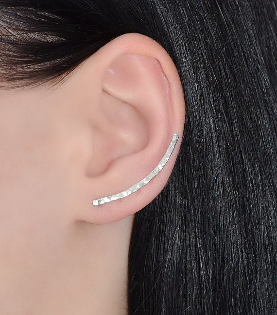 curved hammered ear climber earrings sterling silver