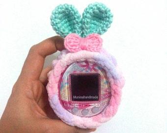 Fluffy Bunny : Tamagotchi case/Tamagotchi crochet cover/tamagotchi crochet case/tamagotchi