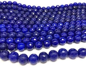 10mm Faceted Natural Royal Blue Jade Gemstone Beads (39 beads)