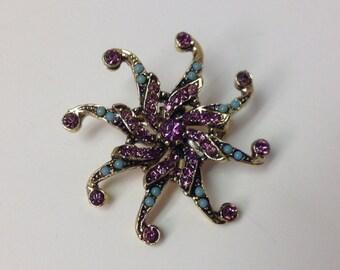 Vintage Starfish Amethyst Turquosie Brooch