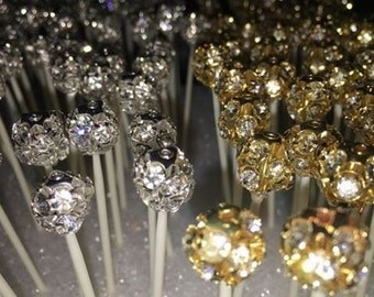 20 piece gold or silver crystallized plastic reusable washable toothpicks
