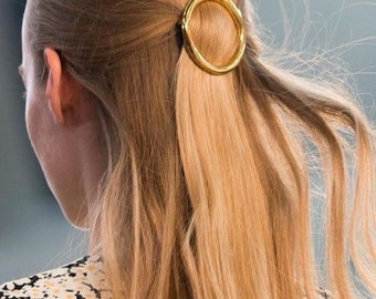 circle hair barette - round hair clip - golden hairclip