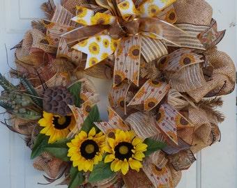 Spring wreath/Summer wreath/Fall wreath/ Sunflower wreath/Farmhouse wreath/Deco Mesh wreath/Burlap/Silk flowers/Made to Order