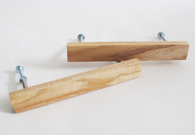 Wooden drawer pulls set of oak wood handles modern