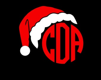 Santa Clause Hat Personalized Monogram Sticker Vinyl Decal