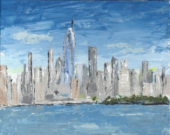 New York Skyline Original Acrylic Painting 8 x 10 Palette Knife Painting