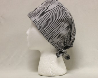 Black and Gray Wood Grain Print Surgical Scrub Cap Chemo Dental Hat