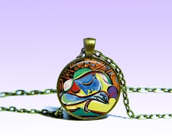 Picasso Art NECKLACE Picture Jewelery Charm Pendant for Him or Her