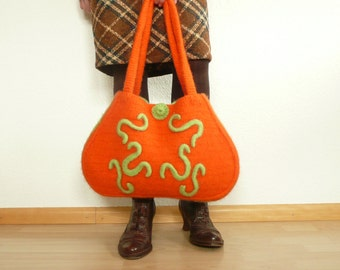 women bag, felted chrocheted in orange, purse, handbag, woolbag,