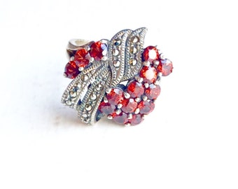 Sale~Red Garnet & Sterling Silver 925 Ladies Ring Size 6