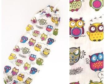 XL Plastic Bag Holder/ Grocery Bag Holder/ Bag Dispenser - Owls