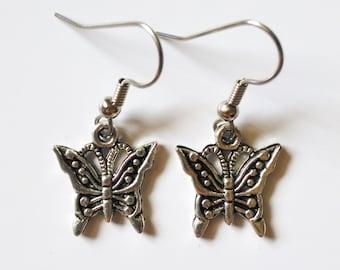Silver Butterfly Earrings + Free Shipping - butterfly jewelry, silver earrings, butterfly earrings silver, cute earrings, butterflies