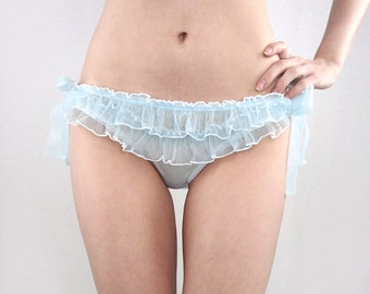 Sheer ruffled panties- blue pale baby pink purple lilac lavender ruffle knickers, bloomers frilly knicker panty side tie sheer see through