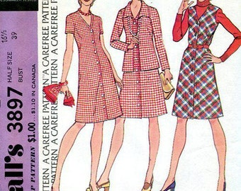 FREE US SHIP McCall's 3897 Retro 1970's Dress Jacket Jumper Bust 39 16 Half Size Shirtdress Dress 70's Sewing Pattern Factory Folded Unused