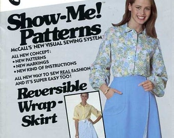 FREE US SHIP McCall's 6086 Retro 1970's Reversible Wrap Skirt Eyelet Petticoat Size 6 8 10 Waist 23 24 25 Sewing Pattern Factory Folded