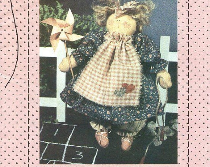 "FREE US SHIP Country Stitches Schools Out 12"" Doll Primitive Uncut 1991 Craft Sewing Pattern Folk Art"