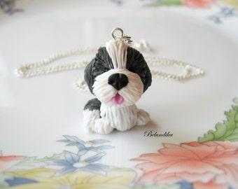 Bearded collie necklace,polymer clay