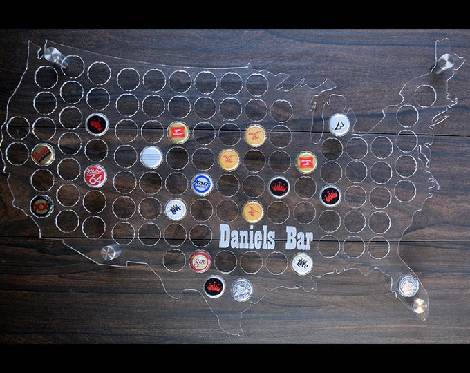 U.S.A Beer Cap Map made with clear acrylic