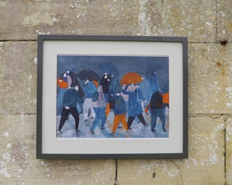 Art Print, Illustration, Hand painted, A3 size, Rain, Umbrellas, England weather, Blues and Orange