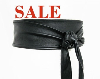 "BESTSELLER Women's belt Black Leather Obi belt 2.5"" Waist Cincher belt double wrap Soft Italian leather"