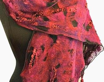 Felted Silk Scarf, Silk Felted Scarf, Handmade Silk Scarf, Gift, Deep Red/Purple accents, Silk & Wool, GracefulEweFiberArts, Fashion Scarf